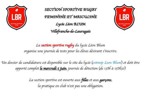 Journée Détection Section Sportive Rugby